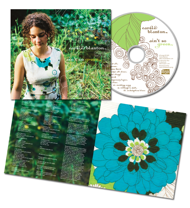 CD label, package and insert for the first album by singer/songwriter Carsie Blanton.