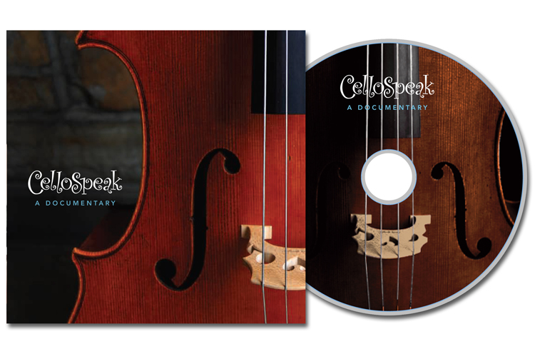 DVD Sleeve and disc label for a documentary of a cello workshop by videographer Dan O'Toole.