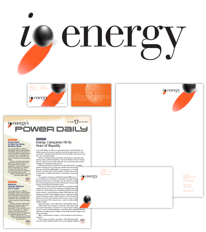 Logo and collateral materials for an media company in the energy field. Io is Jupiter's innermost moon and is one of the largest power producers in the solar system, generating 100,000 MW as it orbits through the planet's magnetic field.